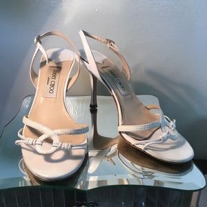 Jimmy Choo White Lizard skin Sandals 37.5